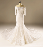 Long Sleeve Mermaid Lace Beaded Wedding Dresses, Custom Made Wedding Dresses, Affordable Wedding Bridal Gowns, WD228