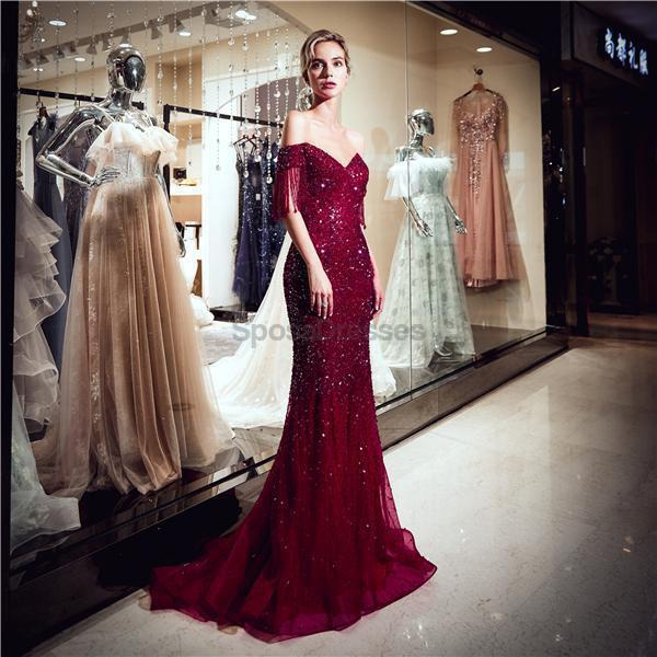 Off Shoulder Dark Red Beaded Mermaid Evening Prom Dresses, Evening Party Prom Dresses, 12064