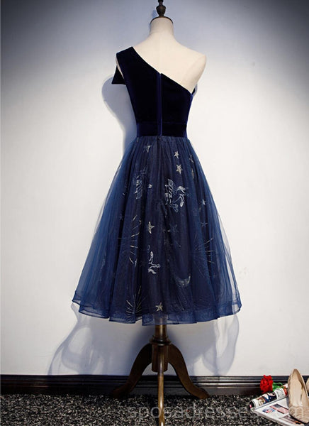 One Shoulder Black Sequin Unique Navy Blue Cheap Homecoming Dresses Online, Cheap Short Prom Dresses, CM767