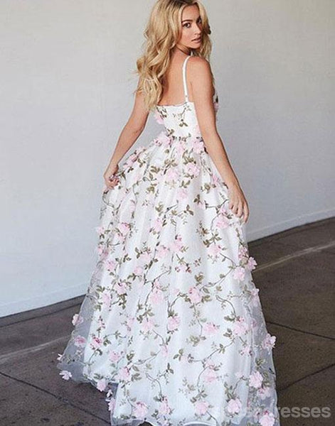 Casual A line Handmade Flower Long Evening Prom Dresses,  Cheap Long Prom Dresses, 17252