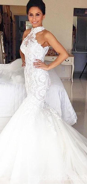 Custom Halter Lace Beaded Mermaid Cheap Wedding Dresses Online, WD422