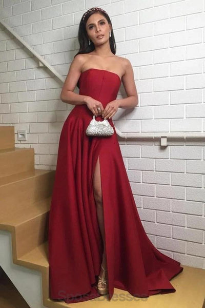 Simple Dark Red Side Slit Long Evening Prom Dresses, Evening Party Prom Dresses, 12171