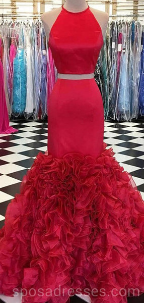 Two Pieces Halter Red Mermaid Long Evening Prom Dresses With Pockets, Cheap Custom Party Prom Dresses, 18604