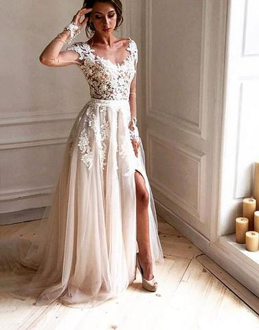 Dark Ivory Cap Sleeve Lace Beaded A line Long Evening Prom Dresses, Popular Cheap Long 2018 Party Prom Dresses, 17303