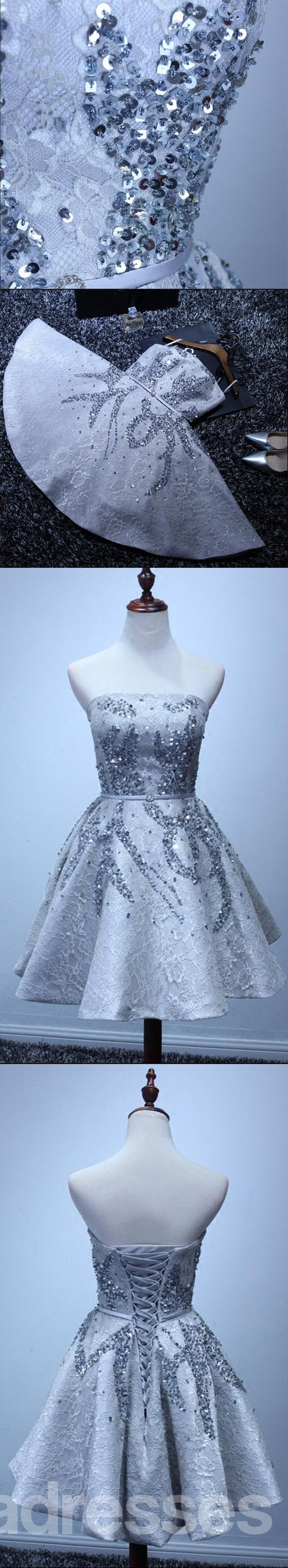 Grey Lace Beaded Homecoming Prom Dresses, Affordable Corset Back ...