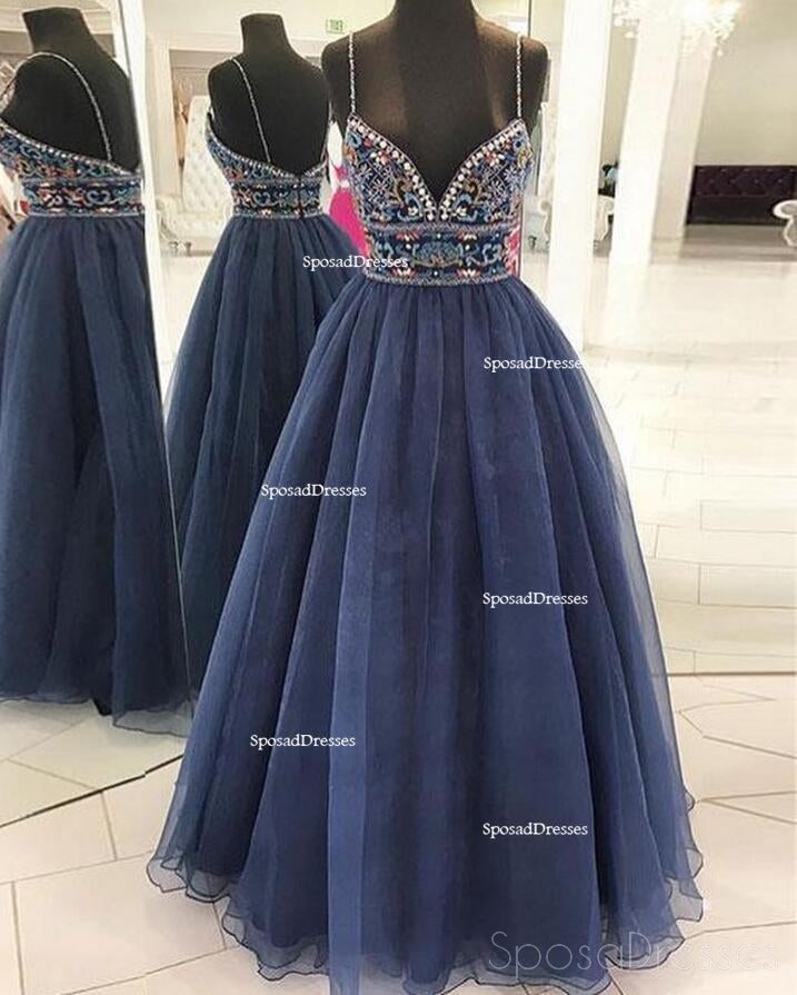 Sexy Spaghetti Backless Navy A line Long Evening Prom Dresses, Popular Cheap Long 2018 Party Prom Dresses, 17277