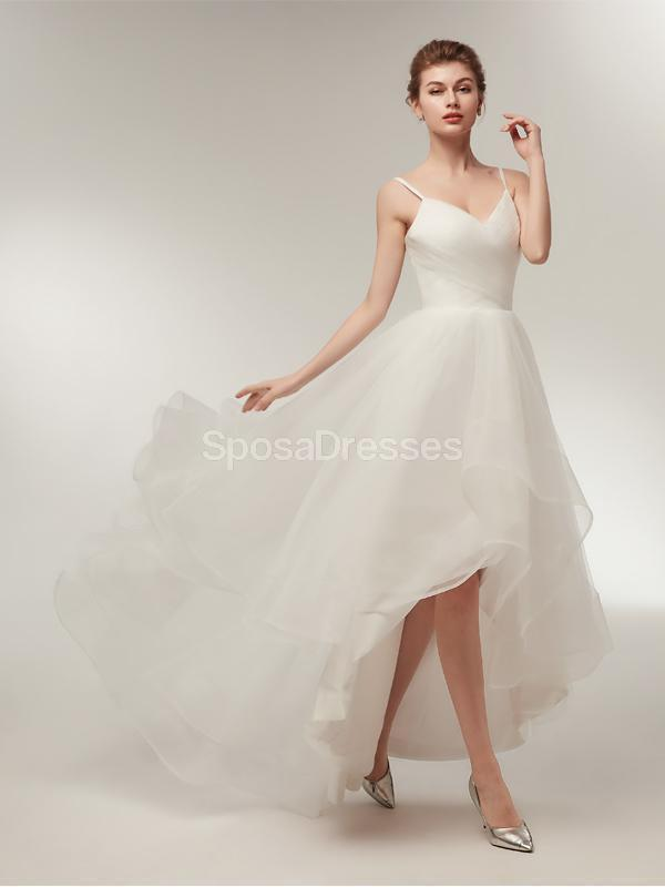 Spahgetti Straps High Low Simple Cheap Wedding Dresses Online, Cheap Bridal Dresses, WD565