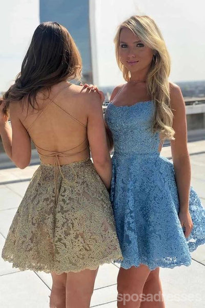 Gold Lace Cross Back Short Homecoming Dresses Online, Cheap Short Prom Dresses, CM840