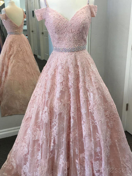 Fashion New Style Backless Pink Off Shoulder Lace Beaded Ball Gown Long Evening Prom Dresses, 17349