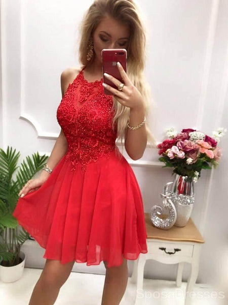 Halter Dark Red Applique Chiffon Short Cheap Homecoming Dresses Online, CM816