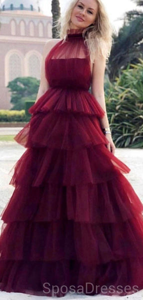 Haler Tulle Cheap Long Sexy Evening Prom Dresses, Cheap Custom Sweet 16 Dresses, 18505
