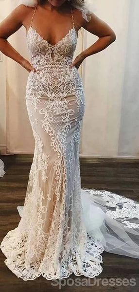 Halter Sexy Lace Mermaid Cheap Wedding Dresses