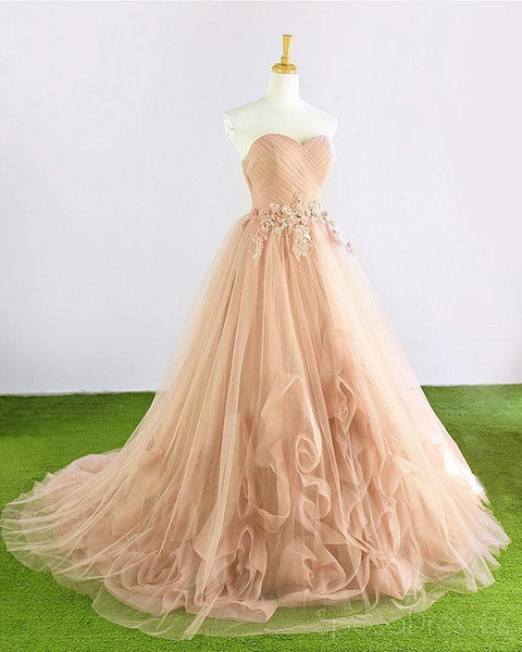 Sweetheart Tulle Hand Made Flower A-line Cheap Evening Prom Dresses, Sweet 16 Dresses, 17493