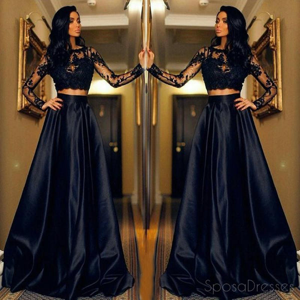 Sexy Two Pieces Long Sleeve Navy Lace Evening Prom Dresses, Popular Navy Party Prom Dresses, Custom Long Prom Dresses, Cheap Formal Prom Dresses, 17196