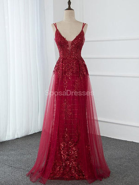 Sexy Backless Spaghetti Straps Red Long Evening Prom Dresses, Evening Party Prom Dresses, 12288