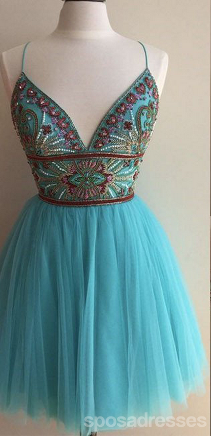 Turquoise Heavily Beaded Tulle Short Homecoming Prom Dresses, Affordable Short Party Prom Sweet 16 Dresses, Perfect Homecoming Cocktail Dresses, CM360