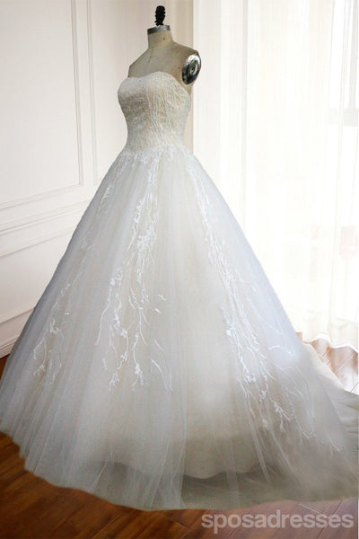 Strapless A Line Lace Wedding Bridal Dresses, Custom Made Wedding Dresses, Affordable Wedding Bridal Gowns, WD235