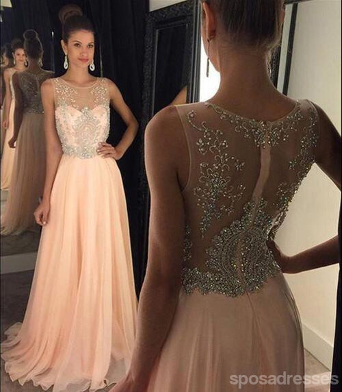 Blush Pink Sexy Prom Dresses, See Through