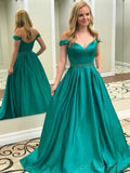 Off Shoulder Emerald Green A-line Long Evening Prom Dresses, 17545