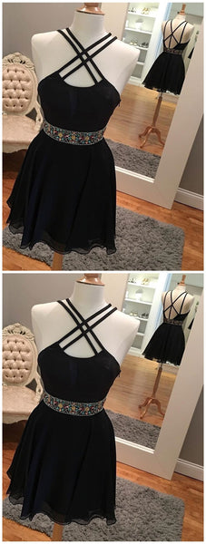 Sexy Backless Short Rhinestone Black Homecoming Dresses 2018, CM485