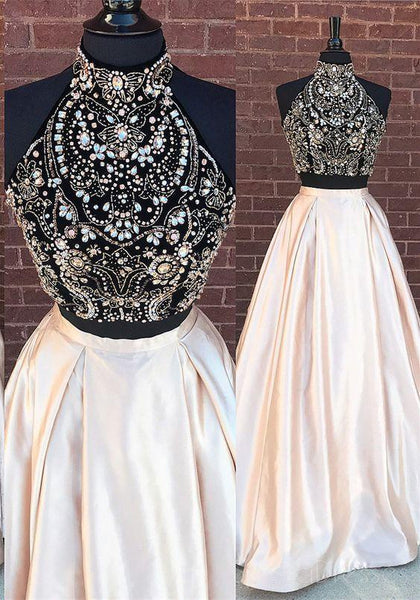Sexy Two Pieces Heavily Beaded Blush Pink Skirt Evening Prom Dresses, Popular 2018 Party Prom Dresses, Custom Long Prom Dresses, Cheap Formal Prom Dresses, 17202