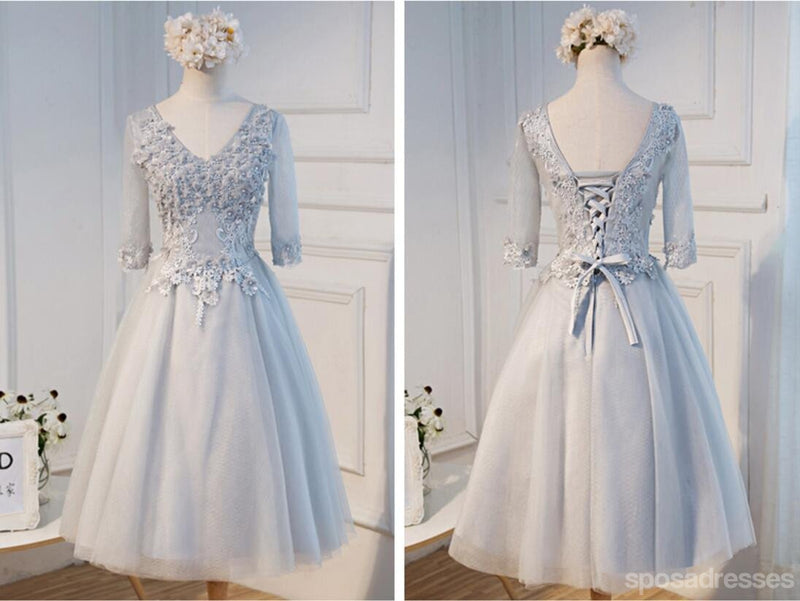 Long Sleeve Gary Lace See Through Homecoming Prom Dresses, Affordable Short Party Prom Dresses, Perfect Homecoming Dresses, CM271