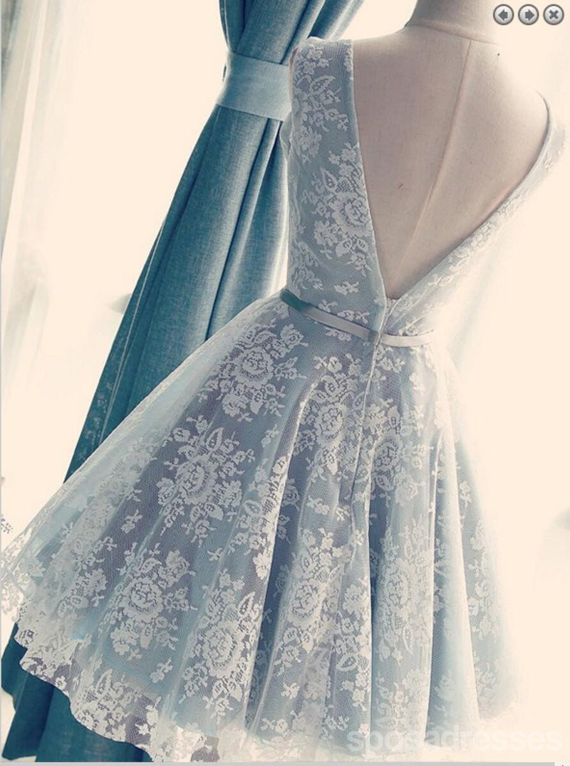 V Neckline Gray Lace Cute Short Homecoming Prom Dresses, Affordable ...