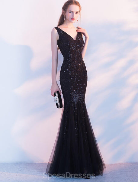 Black Lace Beaded Mermaid Long Evening Prom Dresses, Evening Party Prom Dresses, 12320