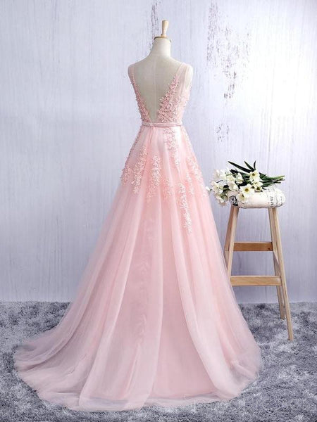 V Neckline Blush Pink Lace A line Tulle Evening Prom Dresses, A line Quinceanera Prom Dresses, Custom Long Prom Dresses, Cheap Formal Prom Dresses, 17140
