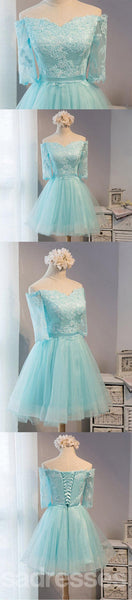 Long Sleeve Mint Lace Tulle Short Homecoming Prom Dresses, Affordable Short Party Prom Sweet 16 Dresses, Perfect Homecoming Cocktail Dresses, CM364