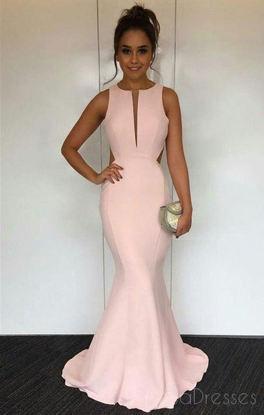 Sexy Open Back Blush Pink Unique Design Mermaid Simple Long Evening Prom Dresses, 17388