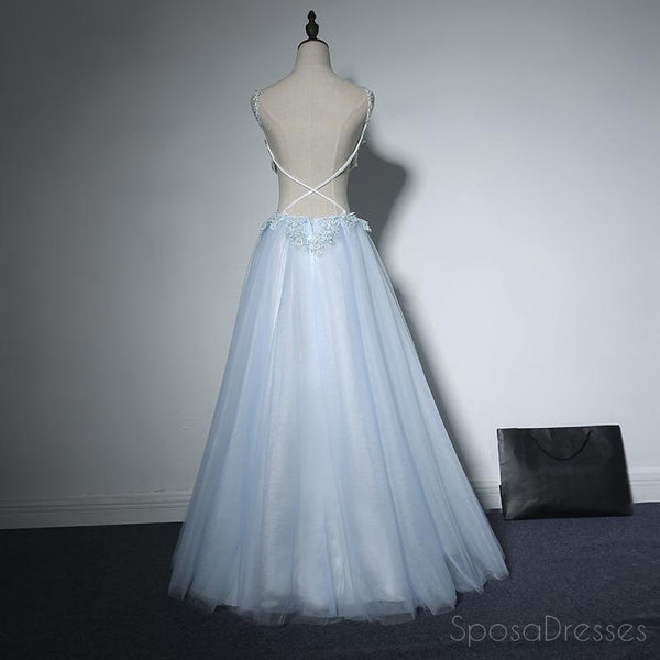 Pale Blue Sexy Cross Back Lace Beaded Evening Prom Dresses, Popular Lace Party Prom Dresses, Custom Long Prom Dresses, Cheap Formal Prom Dresses, 17179