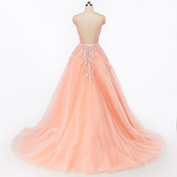 Sexy Backless V Neckline Lace A line Peach Long Evening Prom Dresses, Popular Cheap Long 2018 Party Prom Dresses, 17227