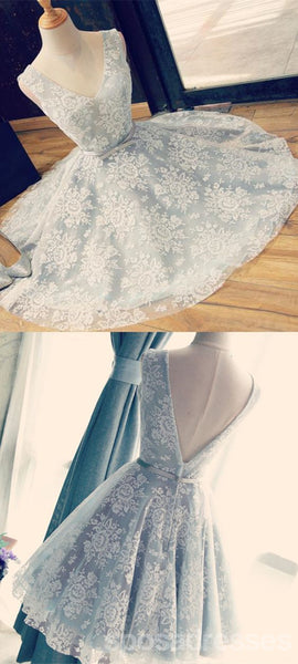 V Neckline Gray Lace Cute Short Homecoming Prom Dresses, Affordable Short Party Prom Sweet 16 Dresses, Perfect Homecoming Cocktail Dresses, CM361