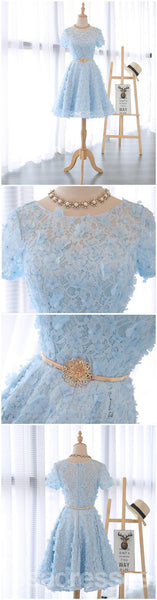 Short Sleeve Scoop Neckline Lace See Through Homecoming Prom Dresses, Affordable Short Party Prom Sweet 16 Dresses, Perfect Homecoming Cocktail Dresses, CM328