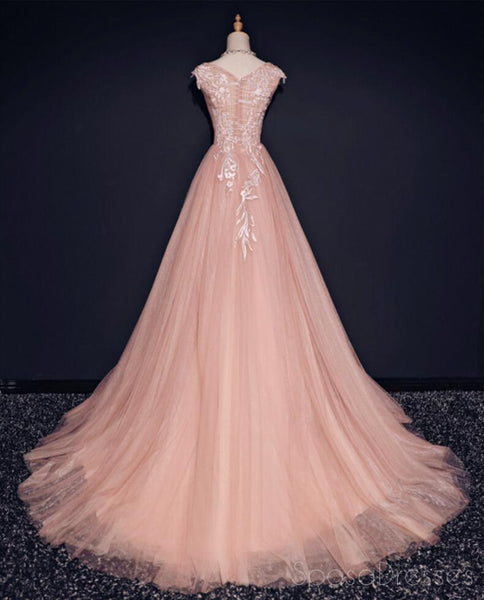 Blush Pink Off Shoulder V Neckline Lace Long Evening Prom Dresses, Popular 2018 Party Prom Dresses, Custom Long Prom Dresses, Cheap Formal Prom Dresses, 17213