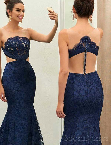 See Through Navy Lace Mermaid Long Evening Prom Dresses, Cheap Sweet 16 Dresses, 18368