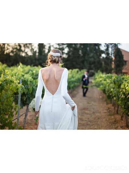Simple Backless Long Sleeves Mermaid Cheap Wedding Dresses Online, Cheap Bridal Dresses, WD488