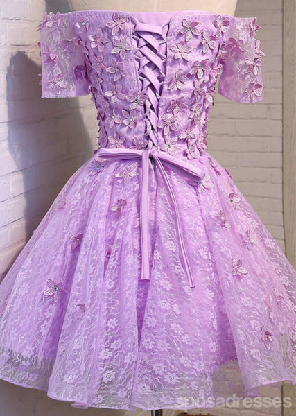 Two Straps Lilac Lace Beaded See Through Homecoming Prom Dresses, Affordable Short Party Prom Dresses, Perfect Homecoming Dresses, CM299