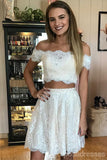 Two Pieces Off Shoulder Lace Cheap Short Homecoming Dresses Online, CM646