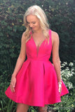 Simple Hot Pink V Neck Cheap Short Homecoming Dresses Online, CM649