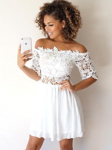 Off Shoulder Short Sleeves White Cheap Homecoming Dresses Online, CM613