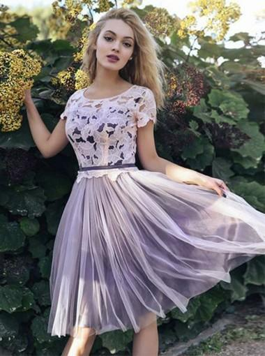 Pale Purple Short Sleeves Lace Cheap Short Homecoming Dresses Online, CM653