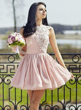 Dusty Pink High Neck Chiffon Cheap Short Homecoming Dresses Online, CM622