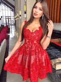 Lace Straps Red Cheap Short Homecoming Dresses Online, CM626