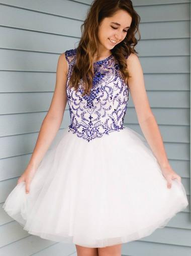 Cap Sleeves Blue Beaded Cheap Short Homecoming Dresses Online, CM658