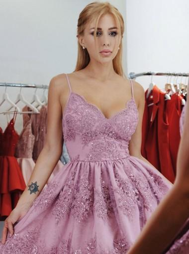 Spahgetti Straps Lilac Lace Cheap Short Homecoming Dresses Online, CM660