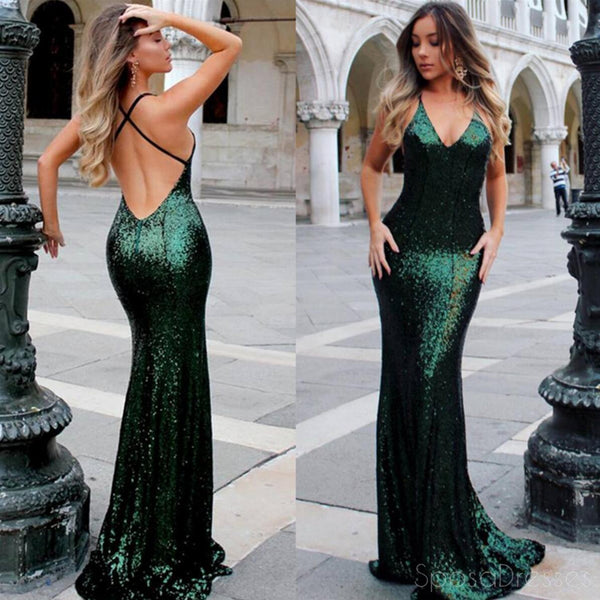 Sexy Backless Mermaid Sparkly Green Sequin Long Evening Prom Dresses, 17298