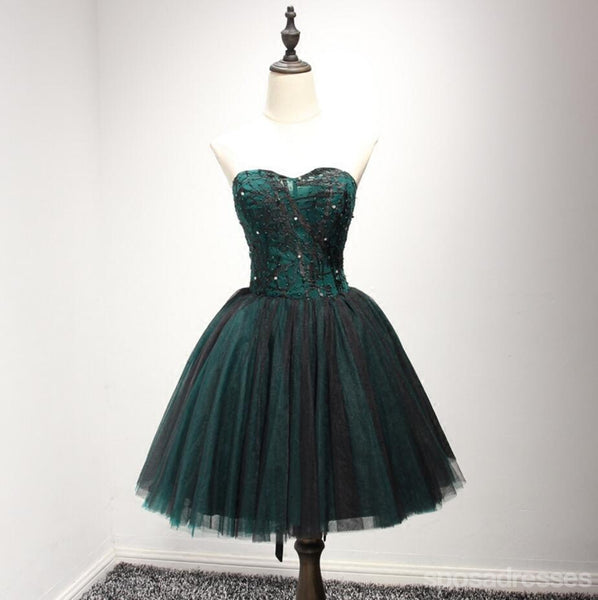 Strapless Dark Green Black Lace Tulle Homecoming Prom Dresses, Affordable Corset Back Short Party Prom Dresses, Perfect Homecoming Dresses, CM237