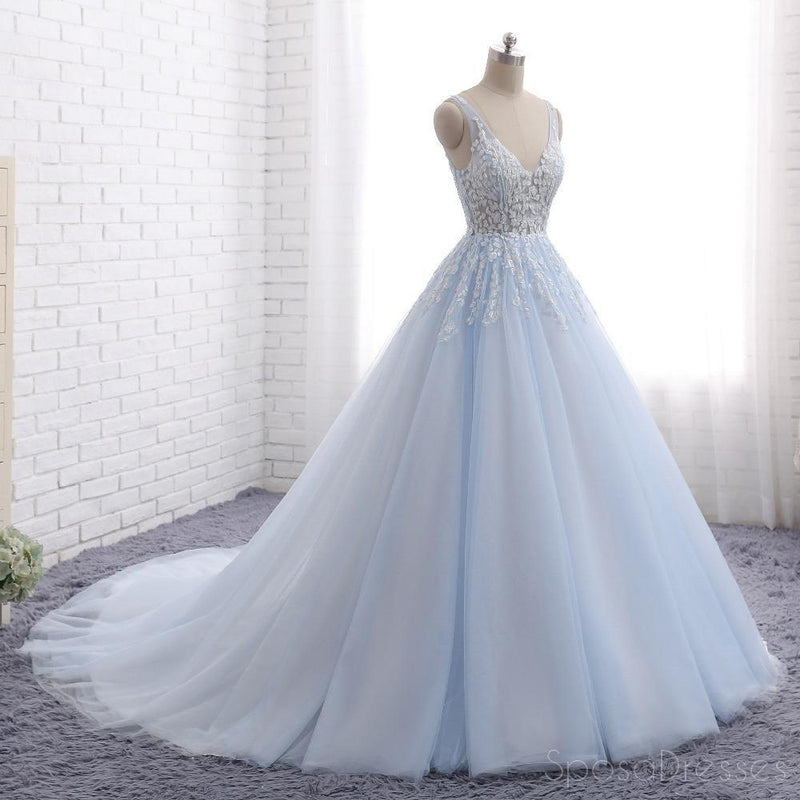 Pale Blue V Neckline A line Tulle Lace Beaded Evening Prom Dresses, Popular Sweet 16 Party Prom Dresses, Custom Long Prom Dresses, Cheap Formal Prom Dresses, 17171